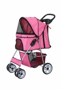 Confidence Deluxe Four Wheel Pet Stroller Pink