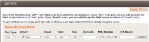 screenshot lost pets database