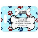 Luggage Tag with Custom Text, Paws and Bones Design includes rubber strap