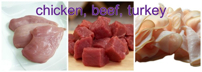 chicken beef or turkey
