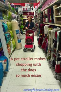 a pet stroller makes shopping with the dogs so much easier