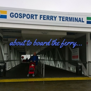 about to board the ferry with the pet stroller