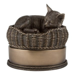 cat in basket urn
