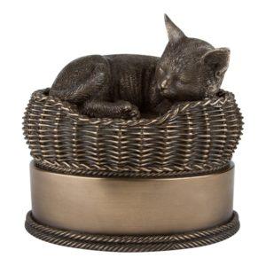 cat in basket urn