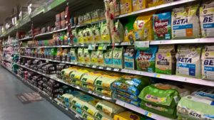aisles of commercial dog food