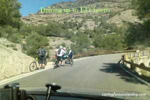 driving up to El Chorro Spain