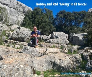Red and hubby hiking in El Torcal