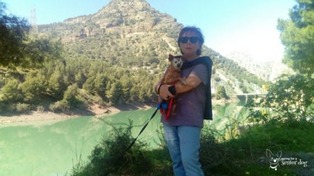 my senior dog Red and I in El Torcal